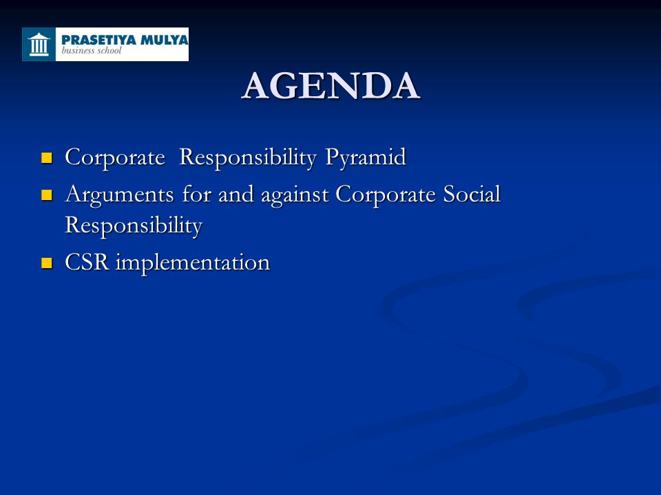AGENDA Corporate Responsibility Pyramid