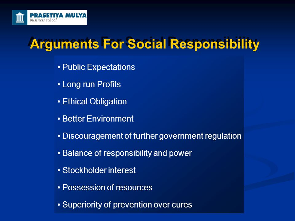 Arguments For Social Responsibility