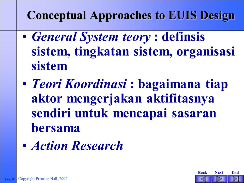 Conceptual Approaches to EUIS Design