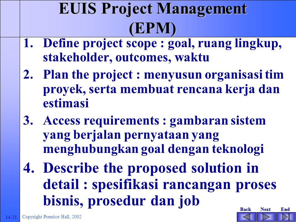 EUIS Project Management (EPM)