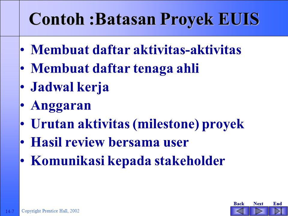 Contoh :Batasan Proyek EUIS