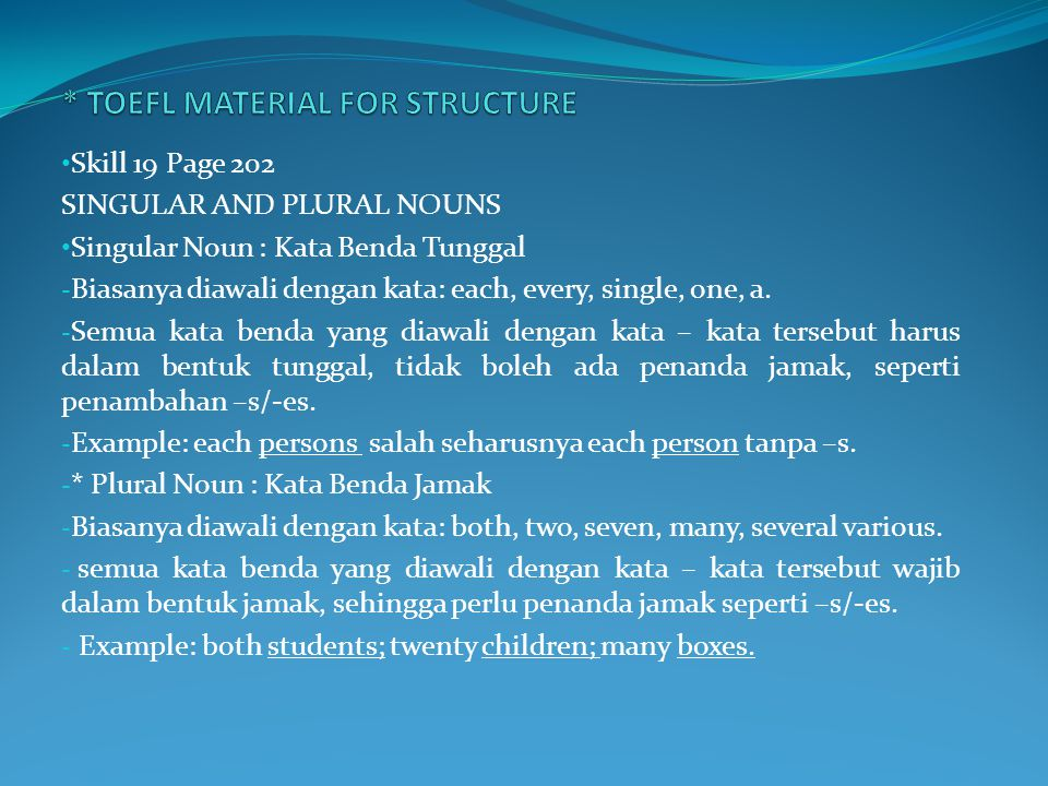 * TOEFL MATERIAL FOR STRUCTURE