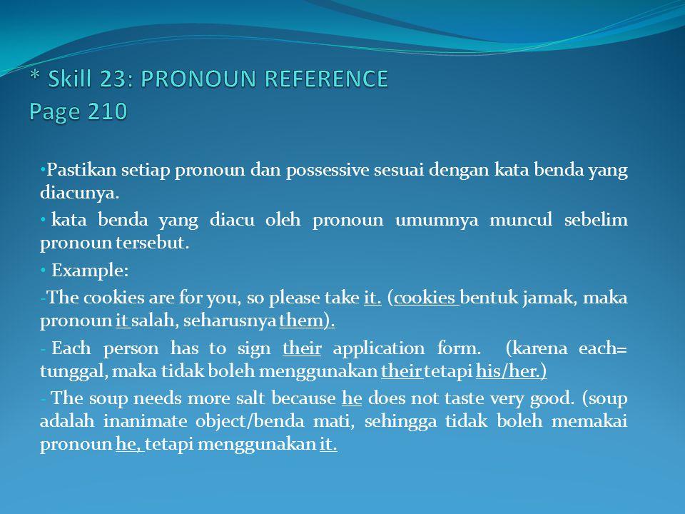 * Skill 23: PRONOUN REFERENCE Page 210