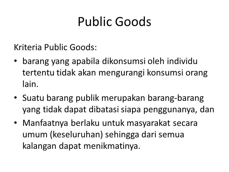 Public Goods Kriteria Public Goods: