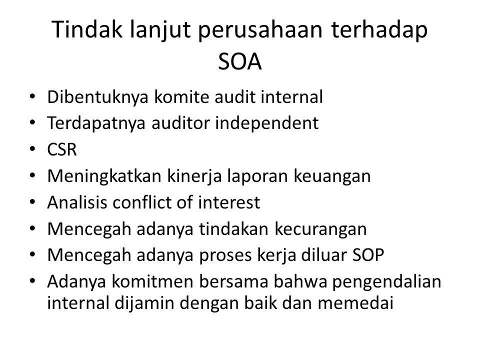 Tindak lanjut perusahaan terhadap SOA