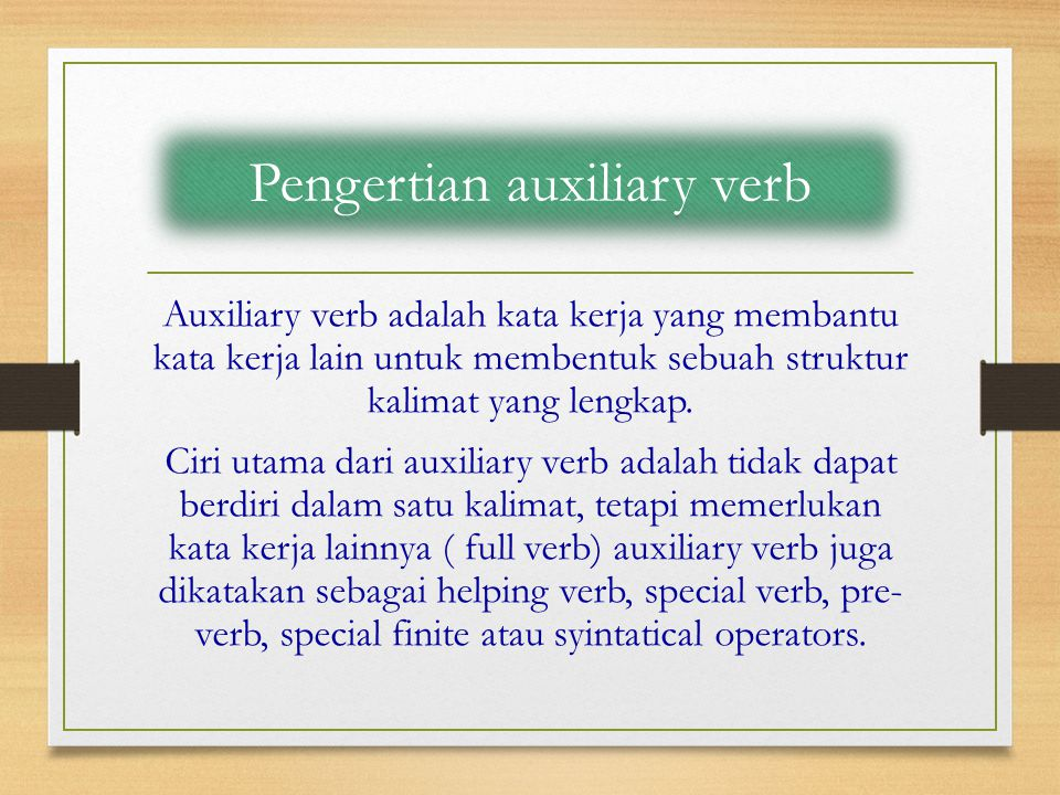 Pengertian auxiliary verb