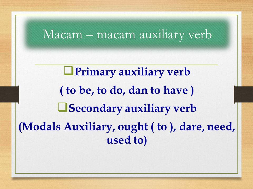 Macam – macam auxiliary verb
