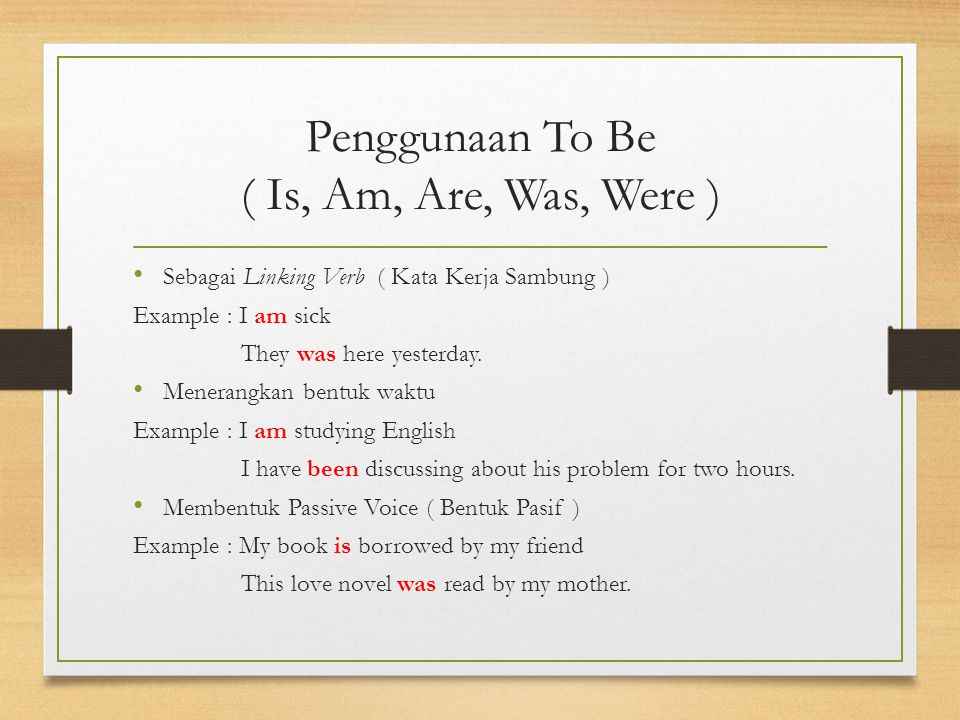 Penggunaan To Be ( Is, Am, Are, Was, Were )
