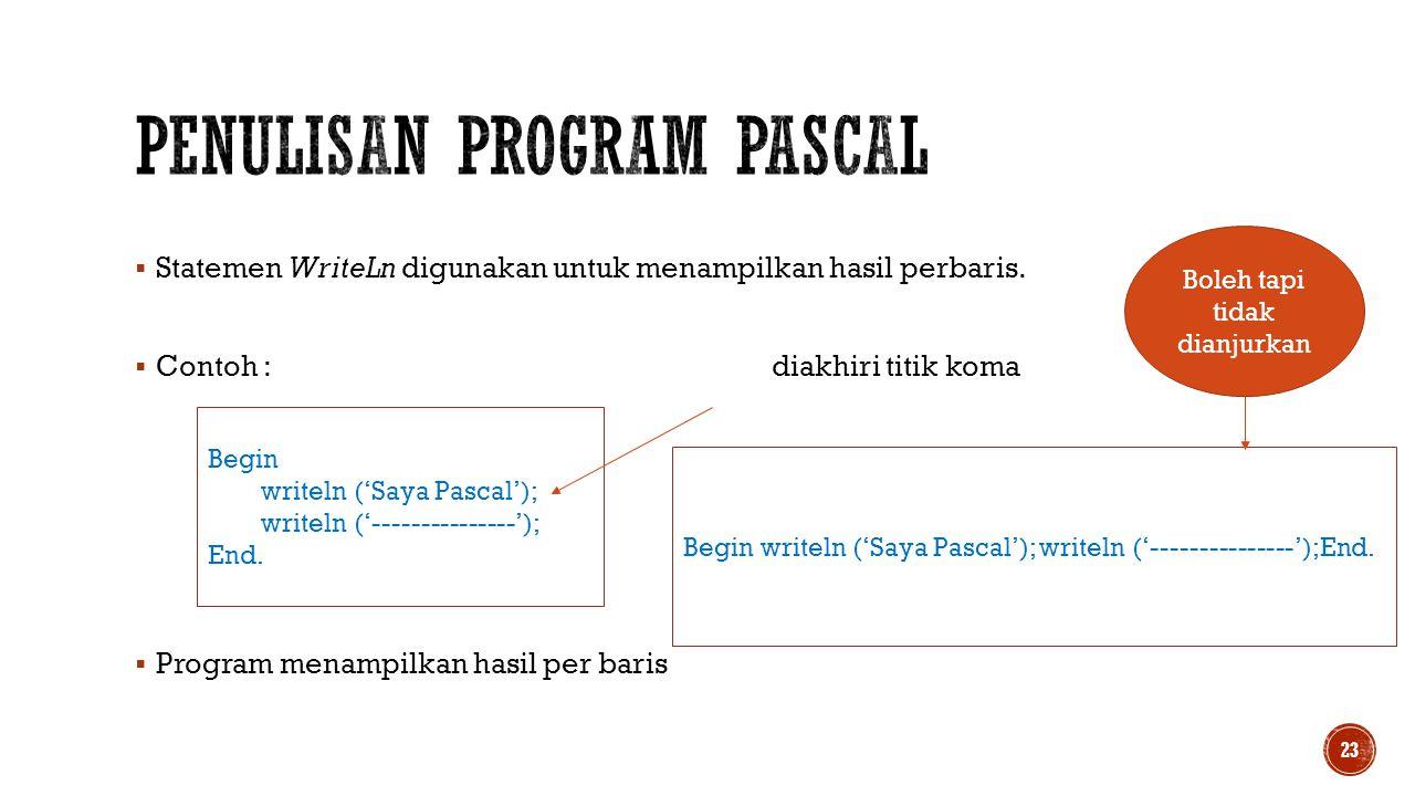 Penulisan Program pascal
