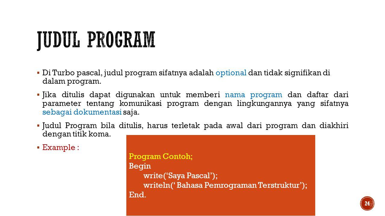 Judul program Di Turbo pascal, judul program sifatnya adalah optional dan tidak signifikan di dalam program.