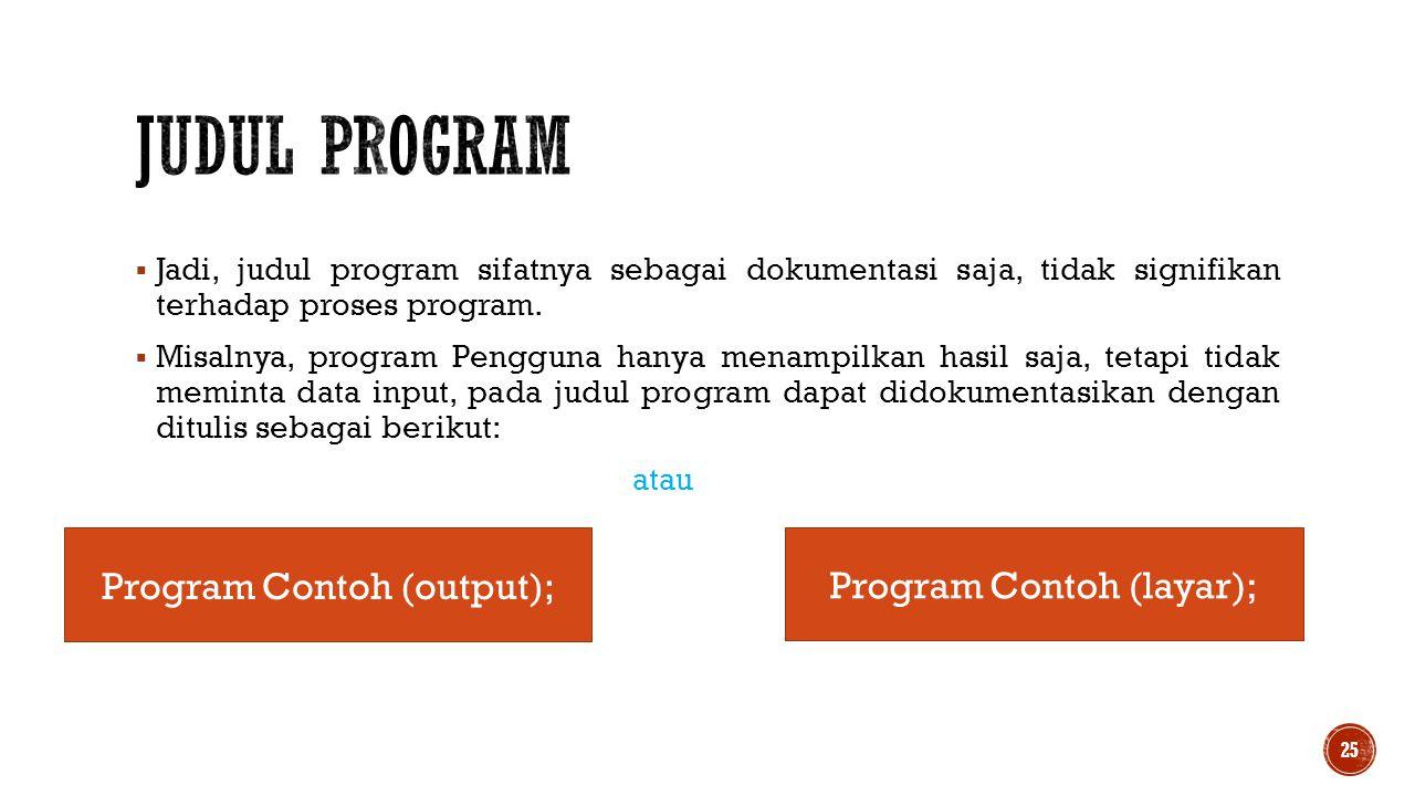 Judul Program Program Contoh (output); Program Contoh (layar);