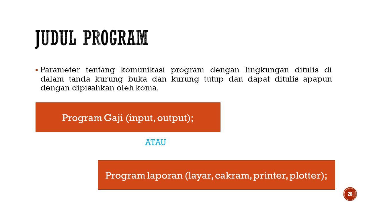 Judul Program Program Gaji (input, output);