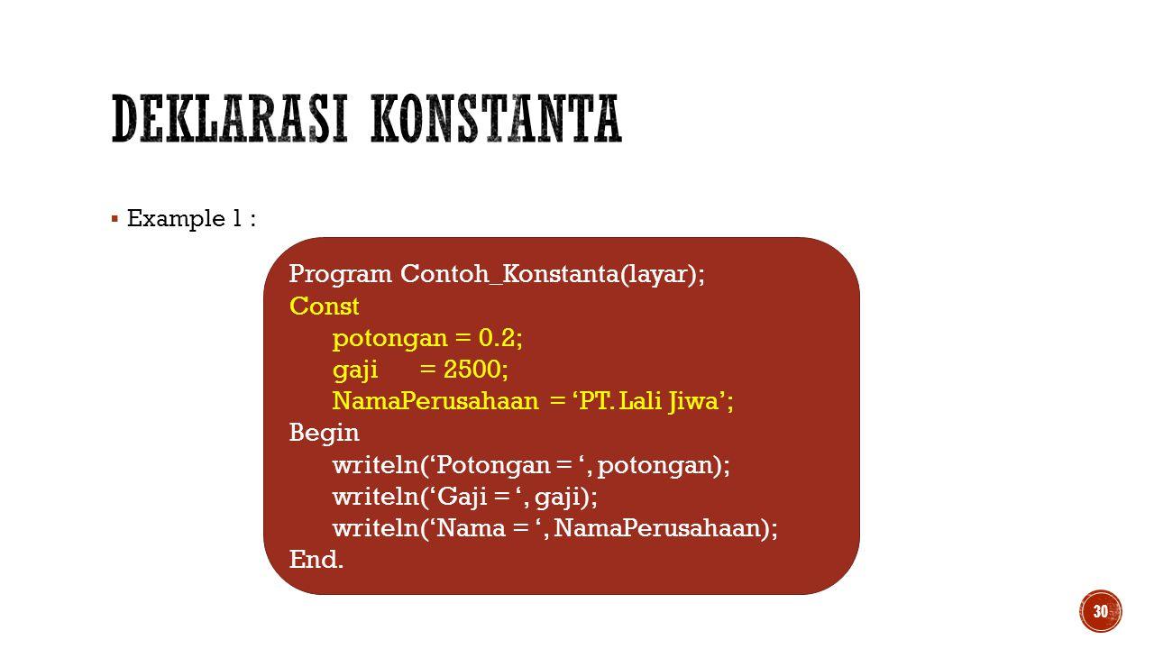 Deklarasi Konstanta Program Contoh_Konstanta(layar); Const
