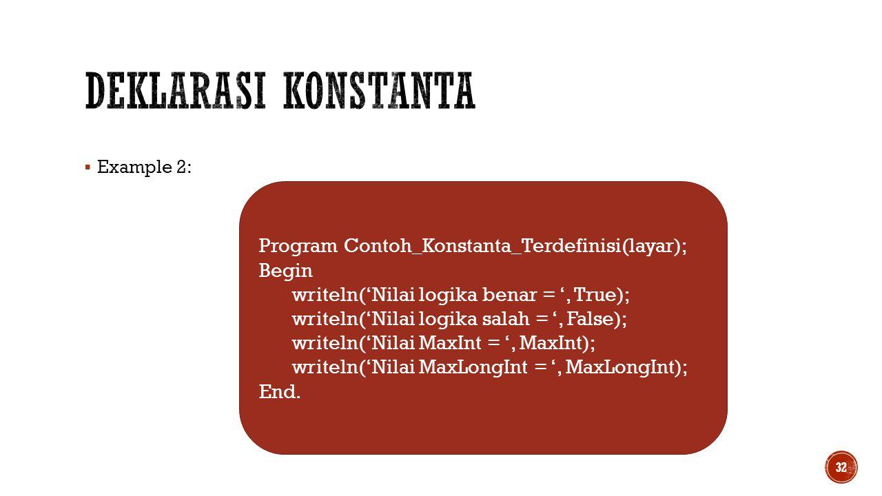 Deklarasi Konstanta Program Contoh_Konstanta_Terdefinisi(layar); Begin