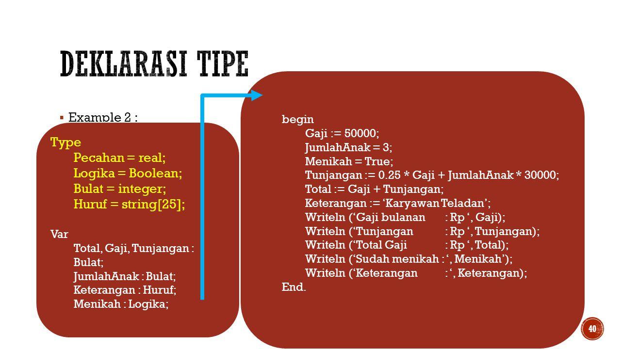 Deklarasi Tipe Example 2 : Type Pecahan = real; Logika = Boolean;