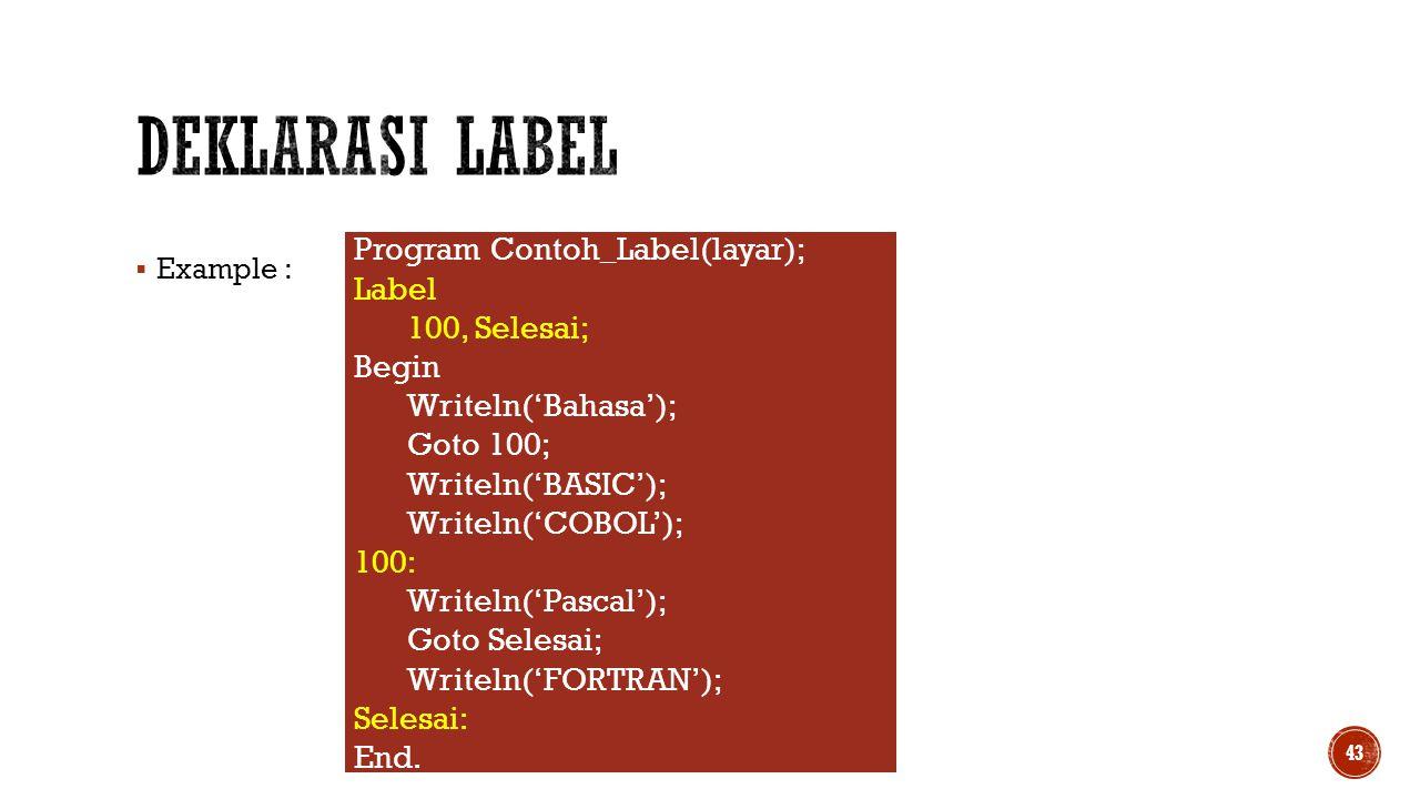 Deklarasi Label Program Contoh_Label(layar); Label 100, Selesai; Begin