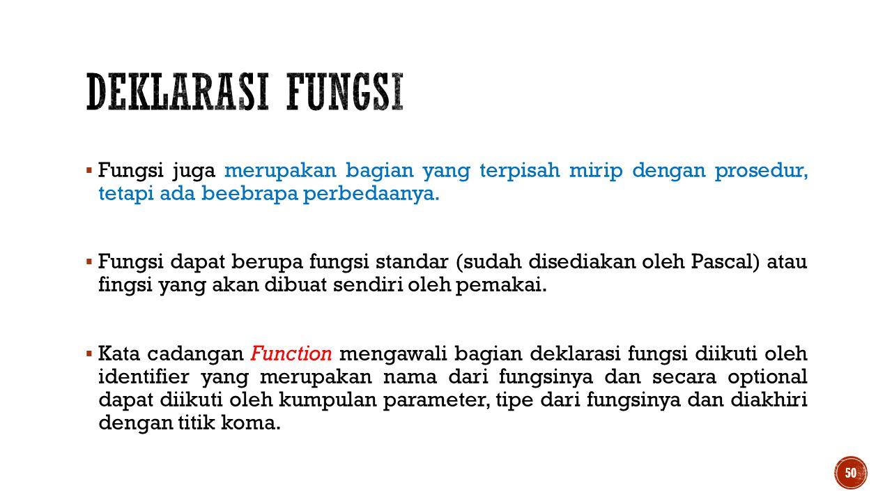 DEKLARASI FUNGSI Fungsi juga merupakan bagian yang terpisah mirip dengan prosedur, tetapi ada beebrapa perbedaanya.