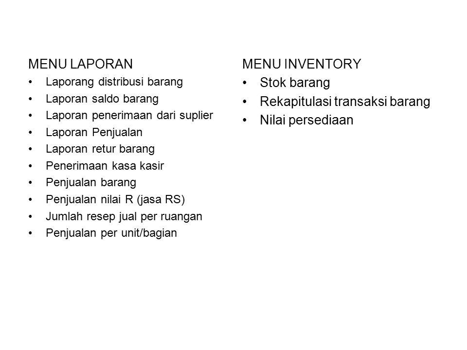 Rekapitulasi transaksi barang Nilai persediaan