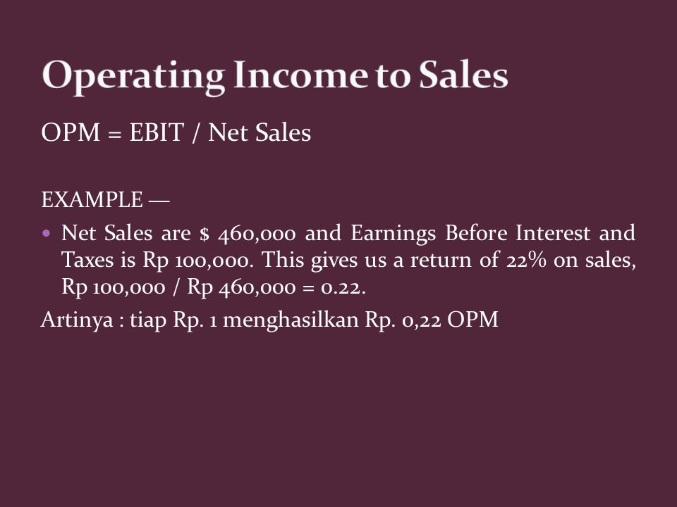 Operating Income to Sales