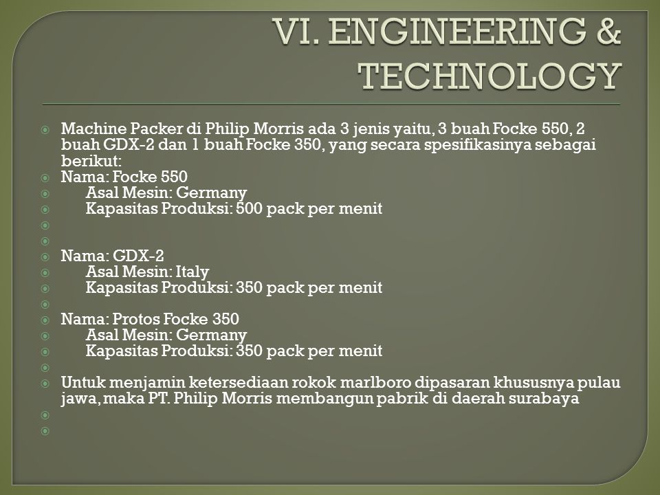 VI. ENGINEERING & TECHNOLOGY