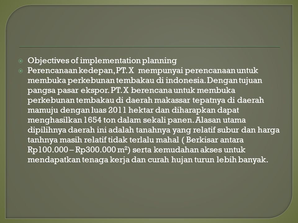 Objectives of implementation planning