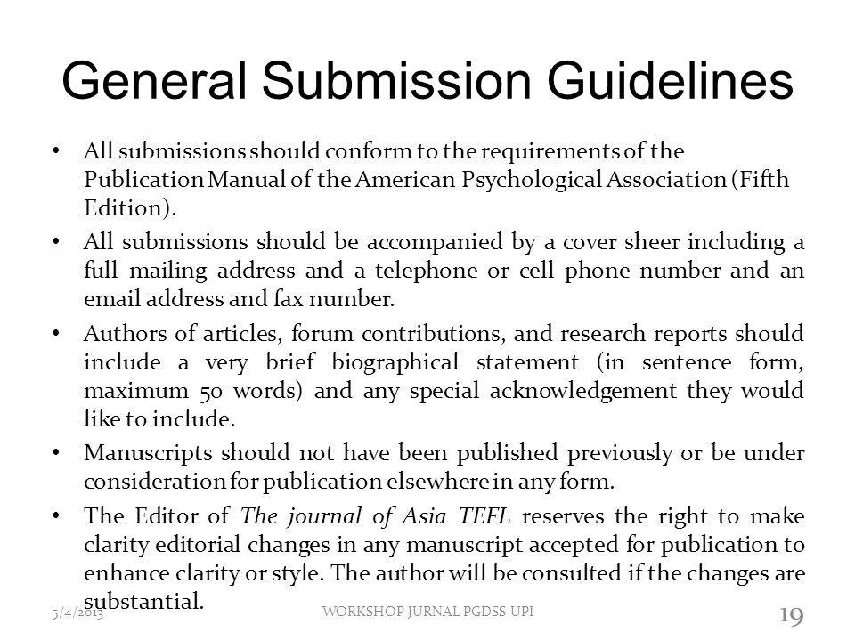 General Submission Guidelines