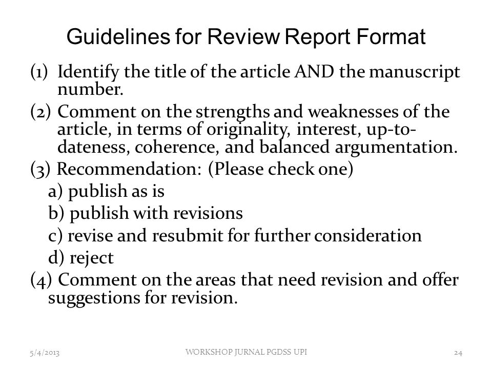Guidelines for Review Report Format