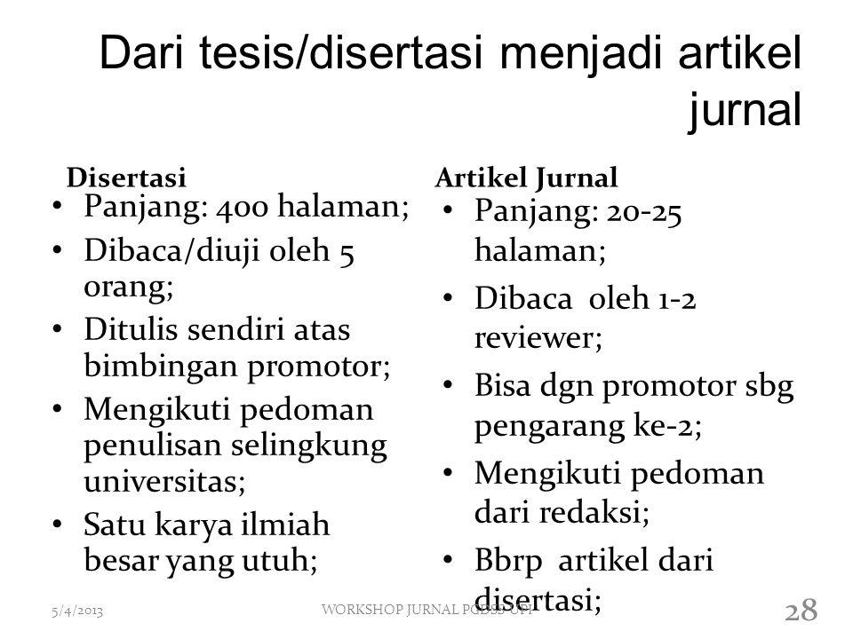 Dari tesis/disertasi menjadi artikel jurnal