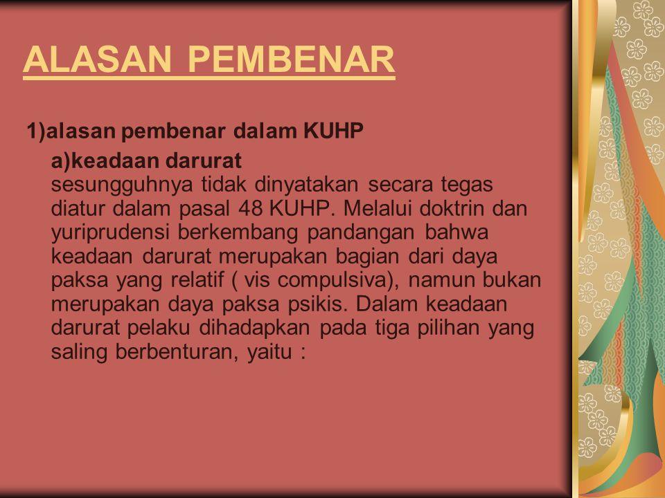 ALASAN PEMBENAR 1)alasan pembenar dalam KUHP