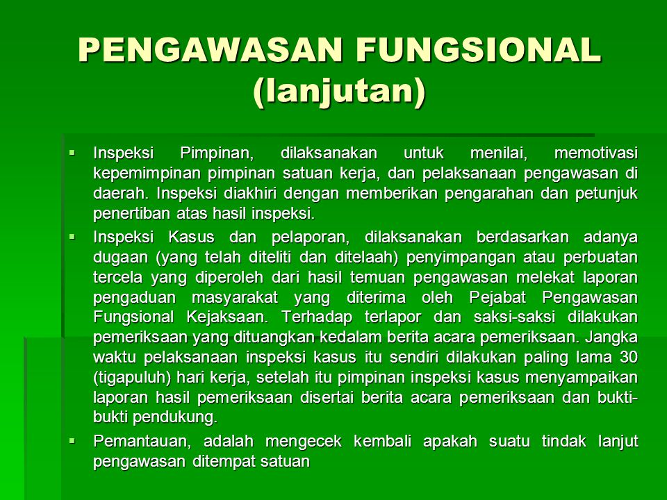 PENGAWASAN FUNGSIONAL (lanjutan)
