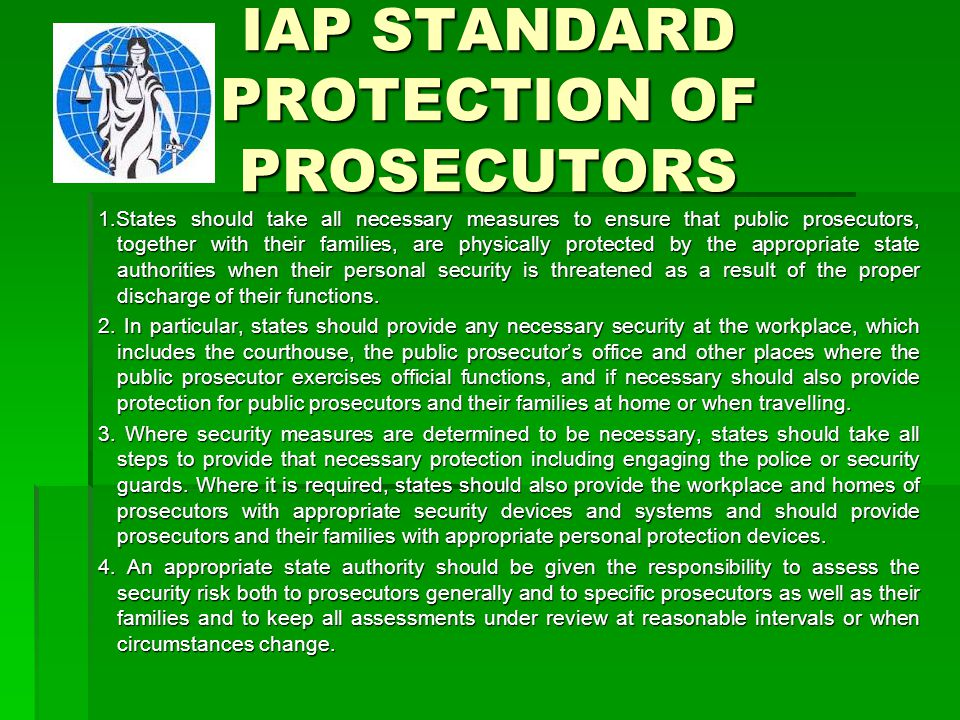 IAP STANDARD PROTECTION OF PROSECUTORS