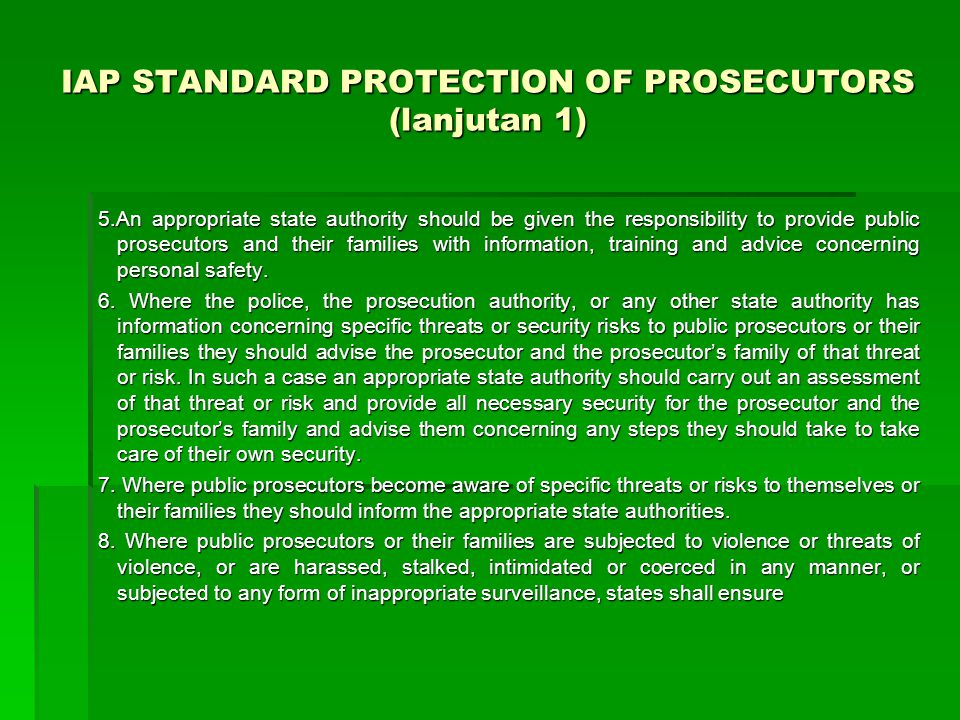 IAP STANDARD PROTECTION OF PROSECUTORS (lanjutan 1)