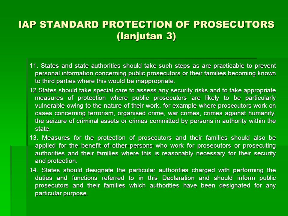 IAP STANDARD PROTECTION OF PROSECUTORS (lanjutan 3)