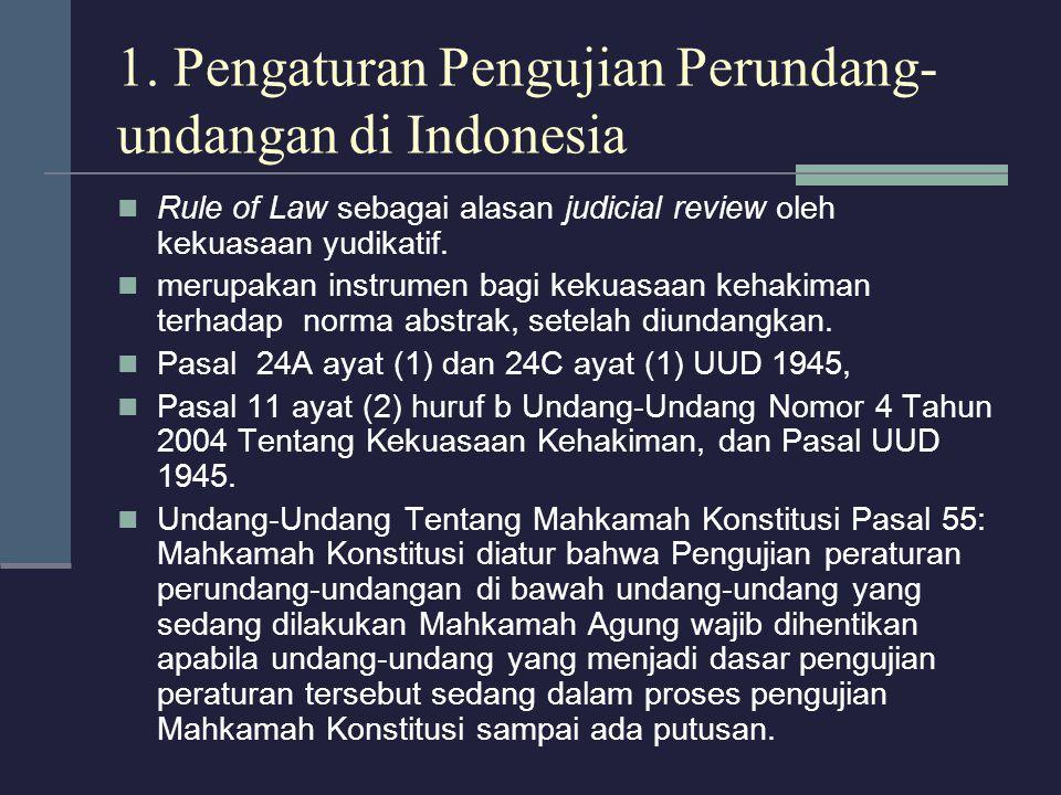 1. Pengaturan Pengujian Perundang-undangan di Indonesia