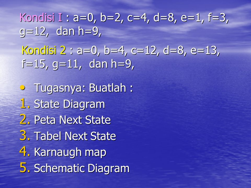 Kondisi I : a=0, b=2, c=4, d=8, e=1, f=3, g=12, dan h=9,