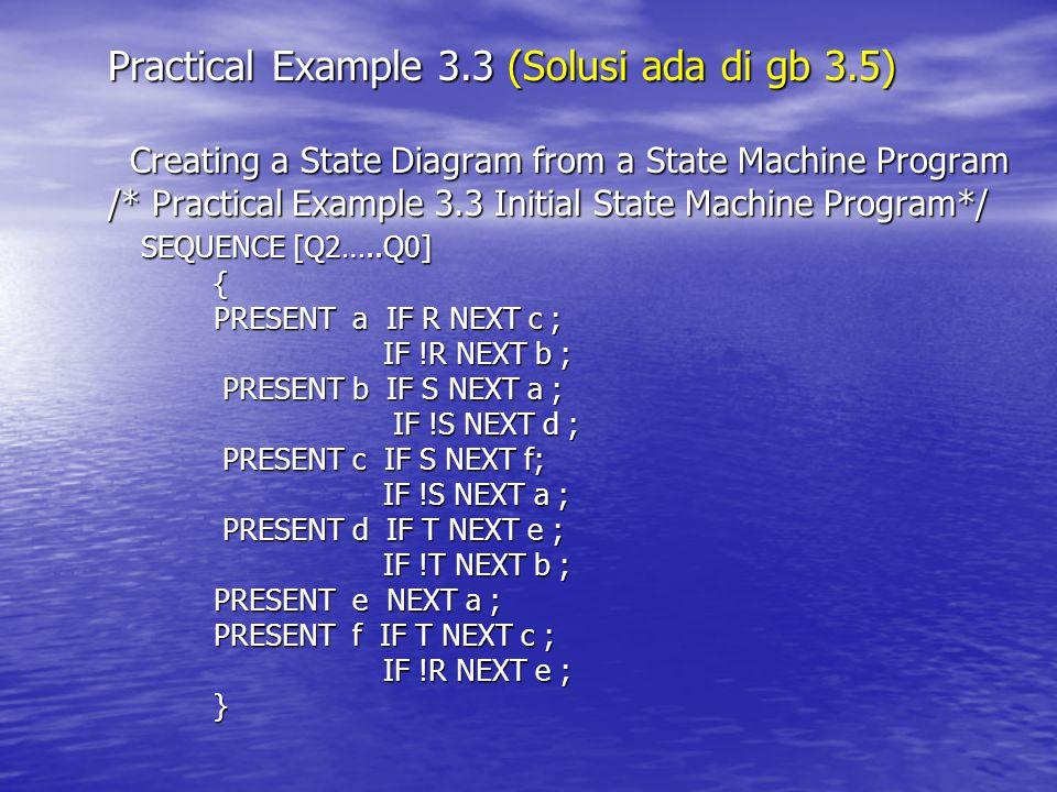 Practical Example 3.3 (Solusi ada di gb 3.5)