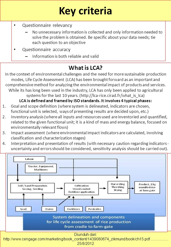 Key criteria What is LCA Questionnaire relevancy