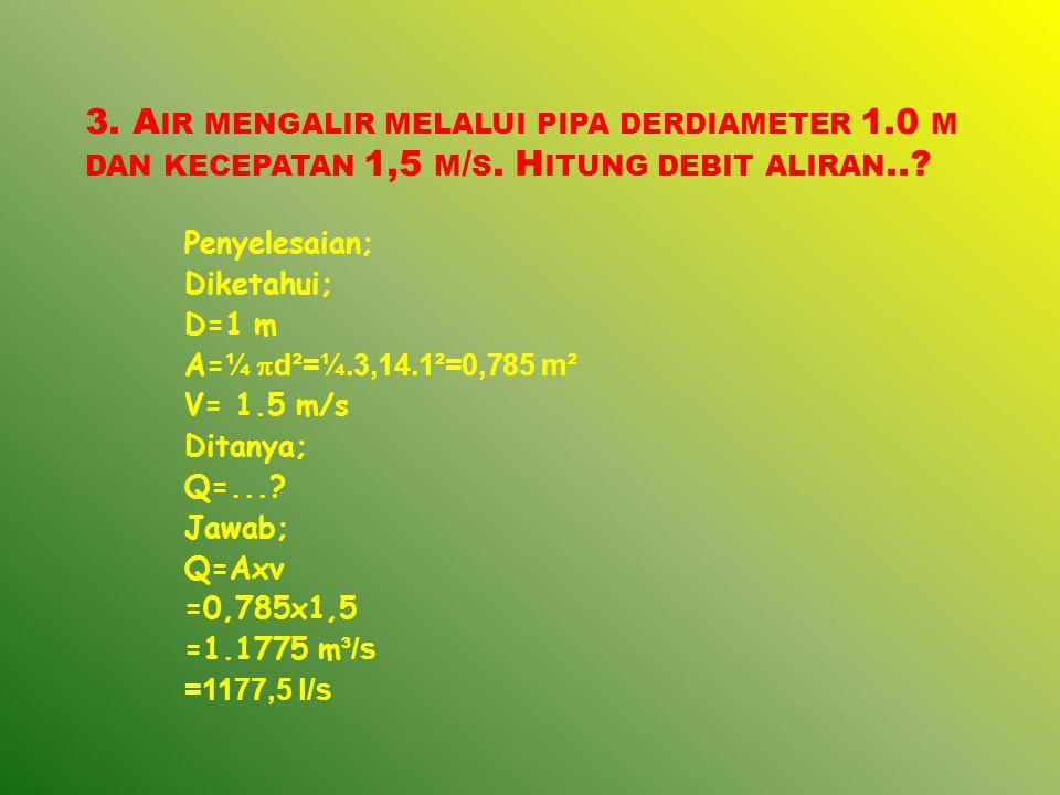 3. Air mengalir melalui pipa derdiameter 1. 0 m dan kecepatan 1,5 m/s