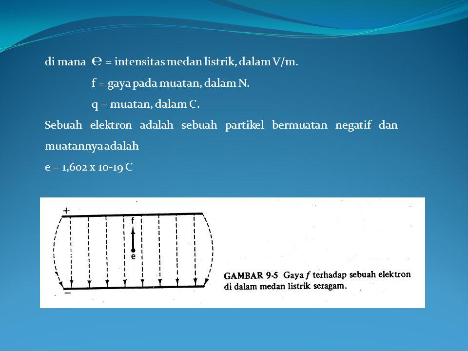 di mana ℮ = intensitas medan listrik, dalam V/m.