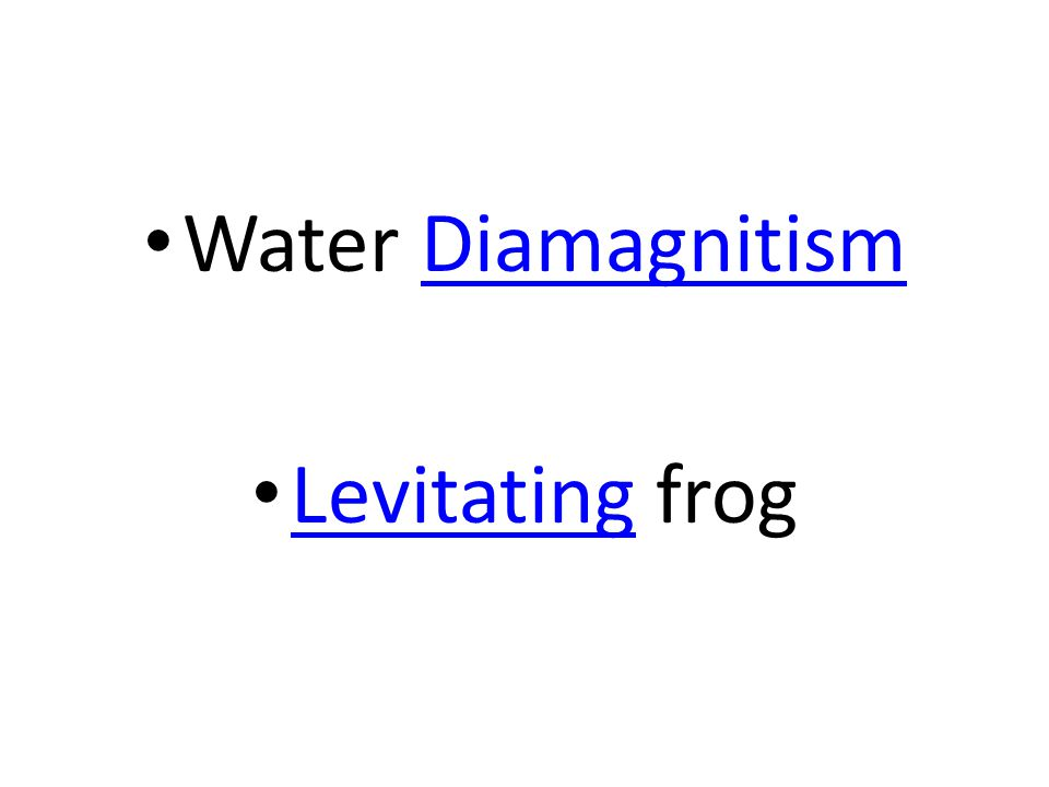 Water Diamagnitism Levitating frog