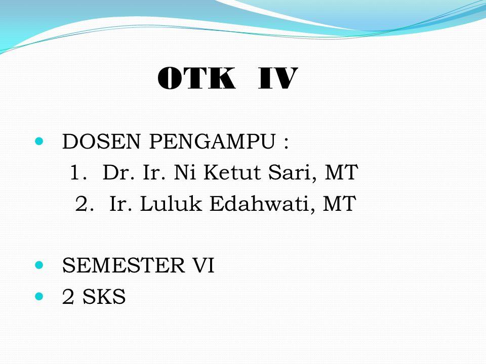 OTK IV DOSEN PENGAMPU : 1. Dr. Ir. Ni Ketut Sari, MT