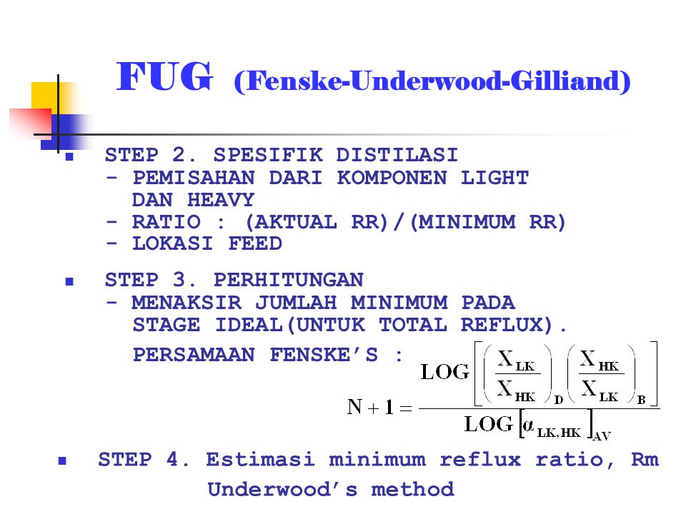 FUG (Fenske-Underwood-Gilliand)