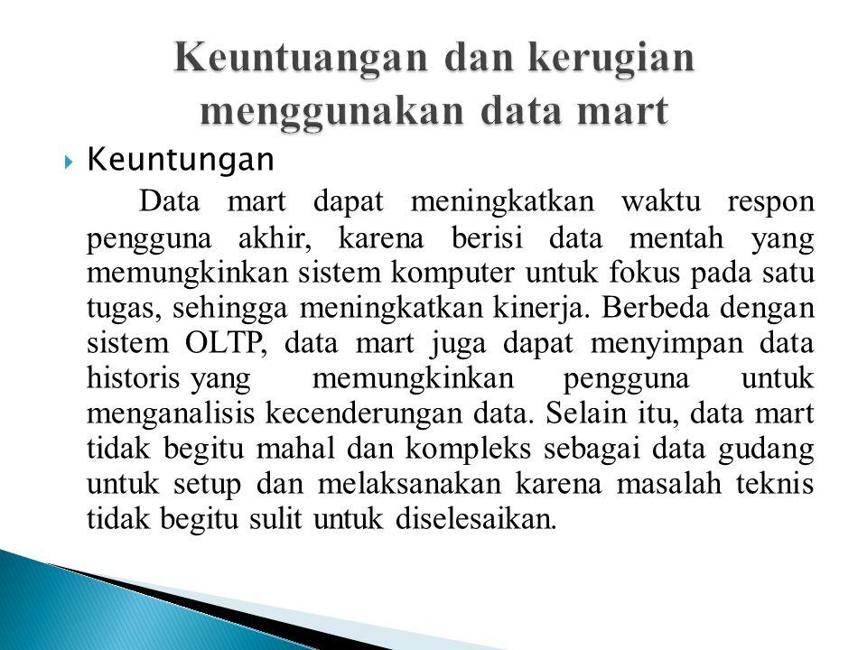Keuntuangan dan kerugian menggunakan data mart
