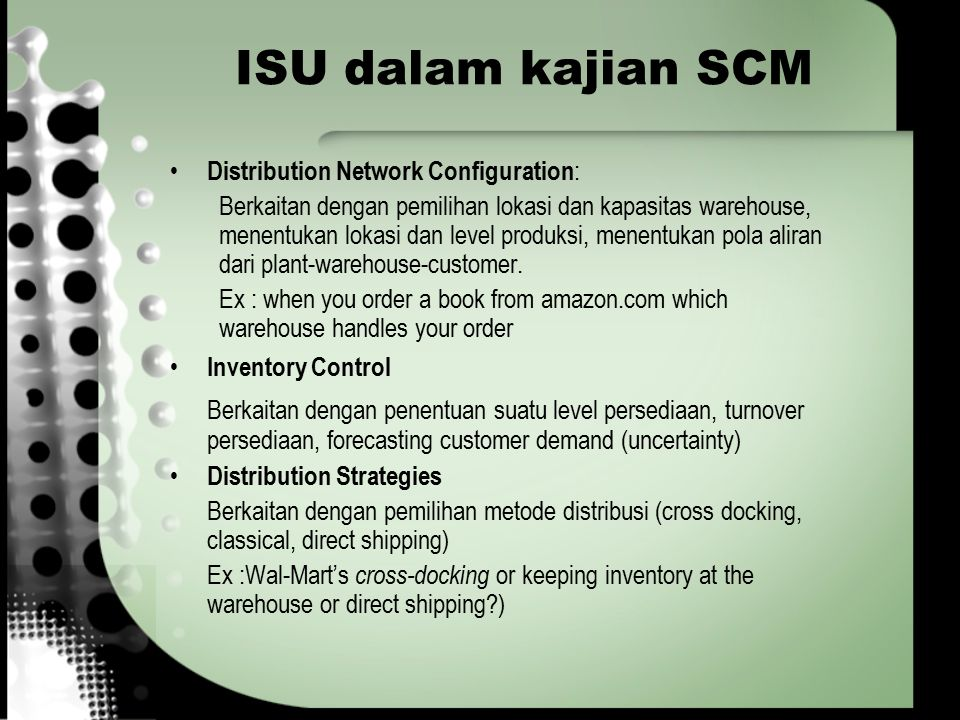 ISU dalam kajian SCM Distribution Network Configuration: