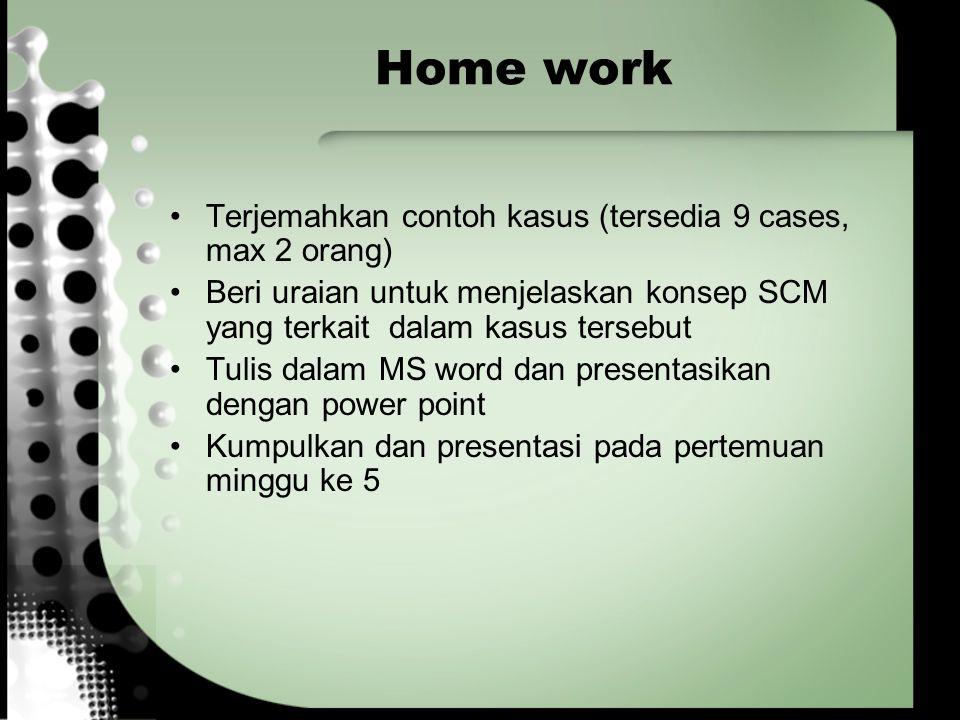 Home work Terjemahkan contoh kasus (tersedia 9 cases, max 2 orang)