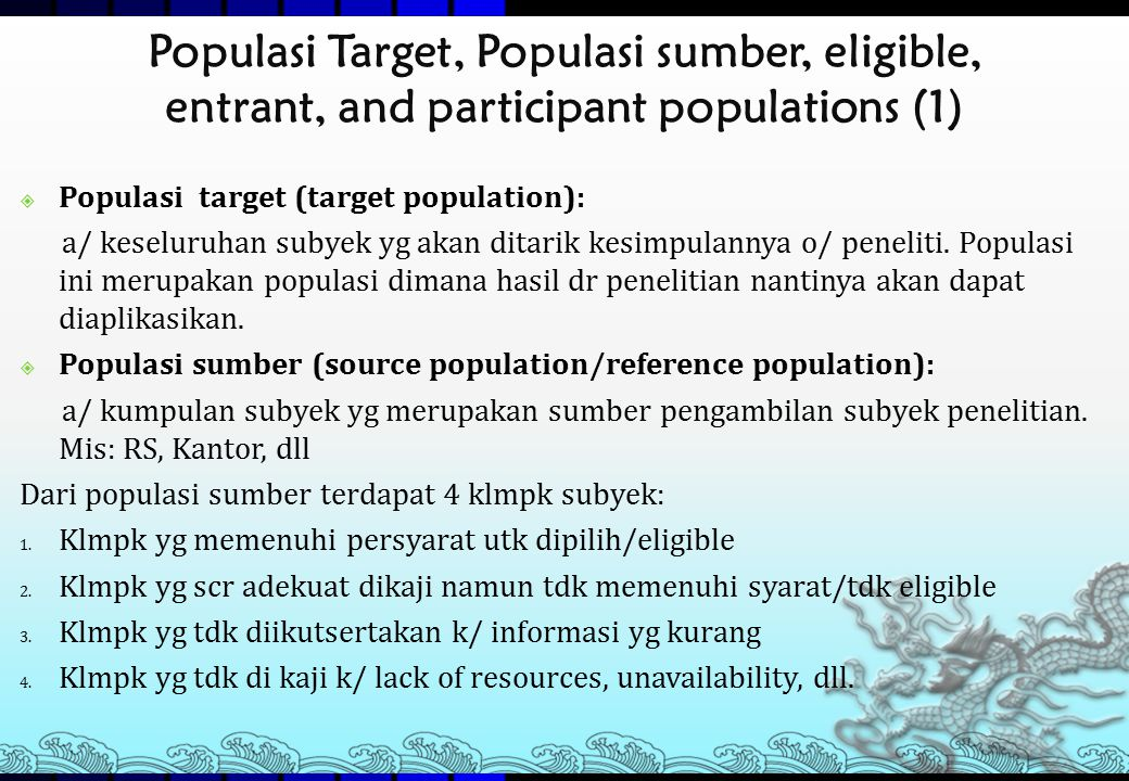 Populasi Target, Populasi sumber, eligible, entrant, and participant populations (1)