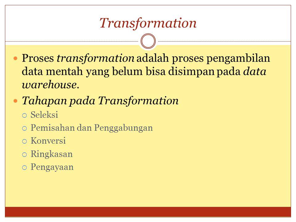 Transformation Proses transformation adalah proses pengambilan data mentah yang belum bisa disimpan pada data warehouse.
