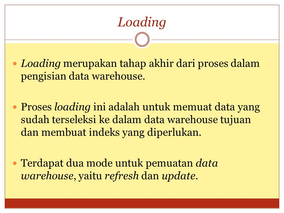 Loading Loading merupakan tahap akhir dari proses dalam pengisian data warehouse.