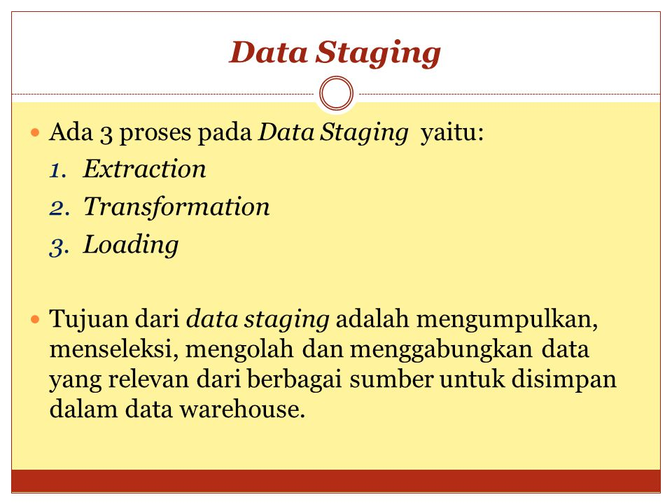 Data Staging Extraction Transformation Loading