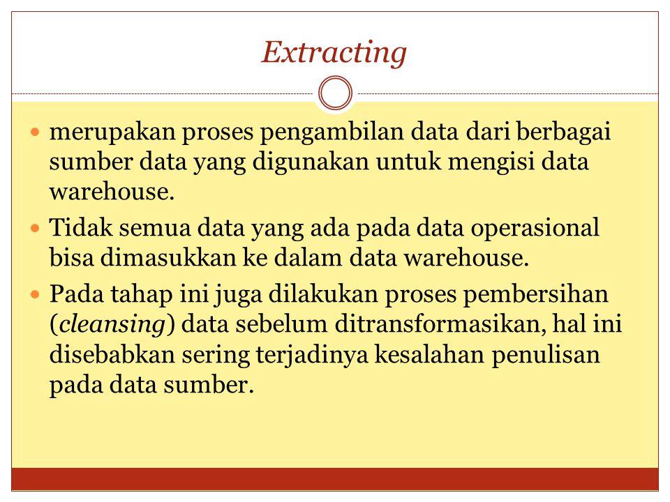 Extracting merupakan proses pengambilan data dari berbagai sumber data yang digunakan untuk mengisi data warehouse.